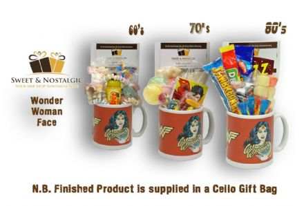 Wonder Woman Mug with/without a lush selection of 60's, 70's or 80's retro sweets